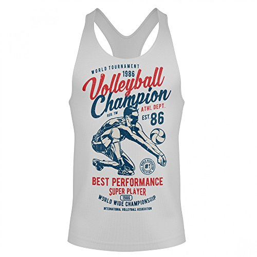 Champion Muskel-shirt (Stylotex Stringer Cotton Tank Top Volleyball Champion Fitness Gym Shirt, Größe:L, Farbe:Weiss)