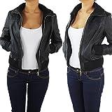 Damen Lederjacke Kunstlederjacke Leder Jacke Damenjacke Jacket Bikerjacke 809all XL Schwarz