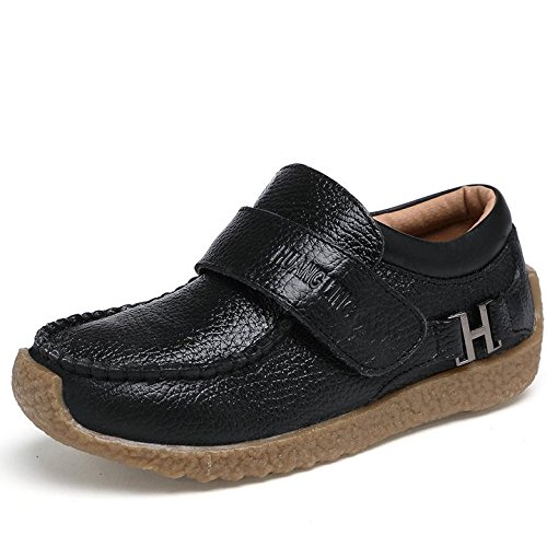 VILOCY Boys Trainers Casual Boots School Shoes Leather Low-Top Slip On Loafers Flats Black 34EU