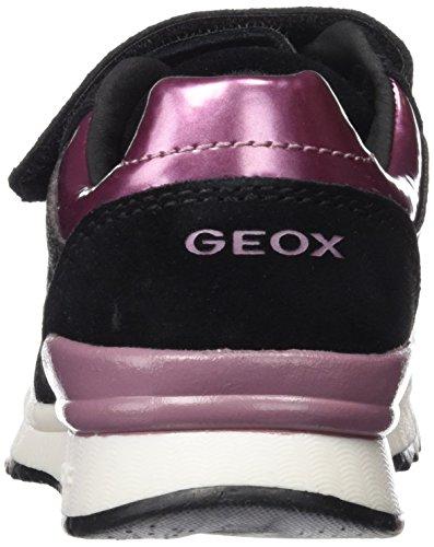 Geox J Maisie E, Baskets Basses Fille Schwarz (BLACKC9999)