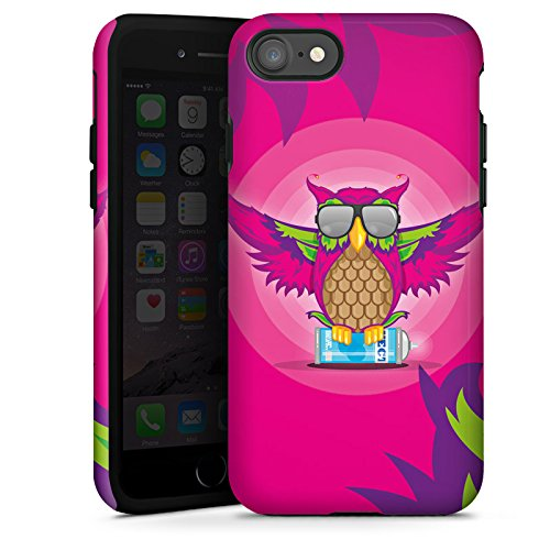 Apple iPhone X Silikon Hülle Case Schutzhülle Eule Pink Sonnenbrille Tough Case glänzend