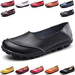 Hishoes Mocasín de Cuero Mujer Loafers Cómodo y Antideslizante Barco Zapatos para Mujer Zapatos de Conducción