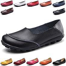 Hishoes Mujer Mocasines de cuero Moda Loafers eadab70450cc