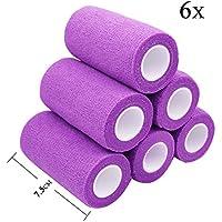 STpro Selbstklebender Verband Tape Fixierverband Selbsthaftende Bandage 7,5cm x 6 Stück Violett Tape Haftbandage... preisvergleich bei billige-tabletten.eu