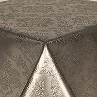 Tovaglia in PVC damascato argento 3metri (300x 140cm), di lusso, effetto goffrato, motivo a foglie grigio, cotone spazzolato Retro, Pulire, spessore vinile/plastica