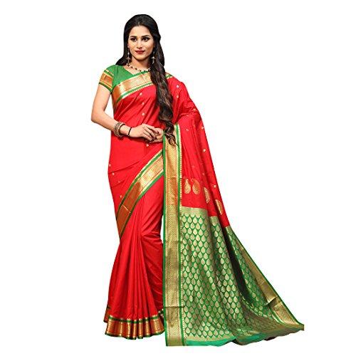 Craftsvilla Women's Silk saree blend with Zari Work Traditional Red Saree with...