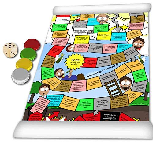 Sauf-Ottos Trinkspiel Marathon - Das kultige Brettspiel auf XL PVC-Plane in 3-fachem A3 Format. Wasserfest für lustige Partyabende oder als Geschenk zum Vortrinken