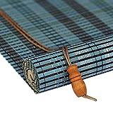 MEI XU Rollo Bambus Vorhang - natürliche Nanmu Kordelzug Bambus Vorhang staubdicht und wasserdicht hohlen Tee Zimmer Shutter [3 Farben 19 Größen] (Farbe : Blue, größe : 100x200CM)