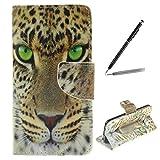 trumpshop Smartphone Schutz Schale Tasche Handyhülle für Samsung Galaxy S6 Tier-Reihe mit Leopard PU Lederhülle Flip Etui Hülle SchutzHüllen Standfunktion Kredit Kartenfächer