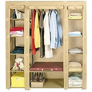 Artmoon Montreal | Grande armoire de rangement pliable en toile | Penderie pour vêtements avec 12 étagères | Couleur Mocca | 15 cinres et 30 kg de charge maximale | Dimensions : 135 x 45 x 175 cm