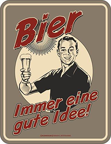Bier Blechschilder (Original RAHMENLOS® Blechschild: Bier, Immer eine gute Idee!)