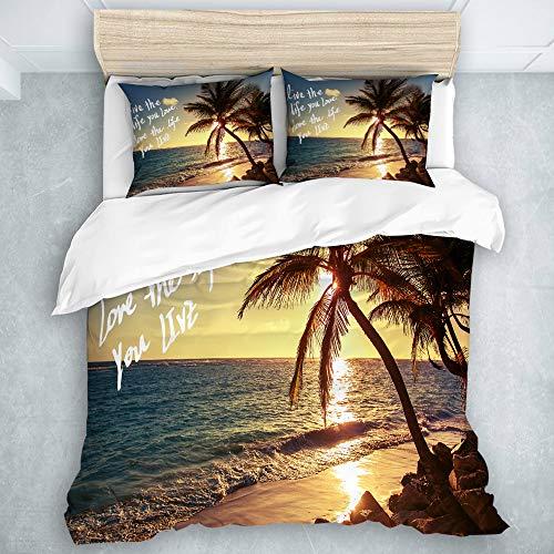LOSUMIGE Bettwäsche-Set, Mikrofaser, Große Sunset Beach-Palme Live The LifeSie lieben inspirierende Zitate Ocean Wave Seascape Bild, Multicolor,1 Bettbezug 240 x 260cm + 2 Kopfkissenbezug 50 x 80cm