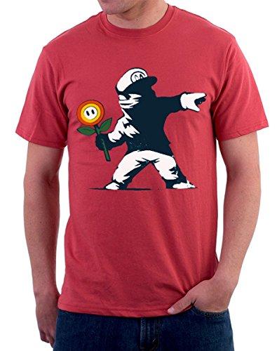 T-shirt Deal- Super Banksy Mario - Graffitto fiori - S M L XL XXL tutte le taglie uomo donna maglietta by tshirteria rosso