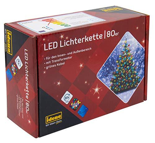 Idena 8325059 Guirlande lumineuse 80 LED Extérieur Multicolore