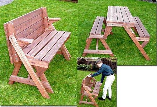Holzbank Tisch Sitzgarnitur clevere Sache die Kombibank - Gartenbank