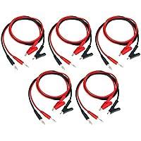 Dolity 10Piezas 4mm 15A Banana Plug To Cocodrilo Clip Cable de prueba para Multímetro Cables de prueba