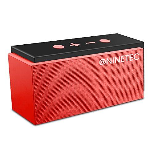 NINETEC SuperSonic 10 Watt Bluetooth 4.0 Speaker mit FM-Radio AUX TF-Karte und Freisprechfunktion Rot