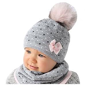 AJS Baby Winter Mütze Mädchen Babymütze Lopp Größe 44/46 Grau/Rosa 6 bis 18 Monate alt (44/46, Grau/Rosa)