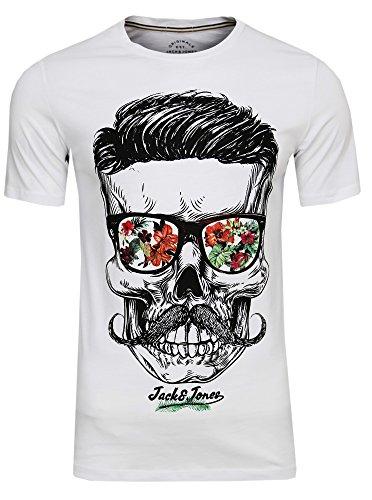 JACK & JONES Herren T-Shirt Festival Flower Support Tee Crew Neck Bart Skull Totenkopf Schädel Print Sonnenbrille,(White,L)