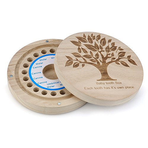 Sannysis Caja de almacenamiento de madera para Dientes de leche (árboles)