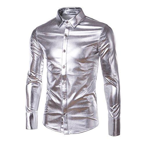 Zhien Disco Dance Tops Clubwear Cosplay Moda Uomo Bling Lucido Slim Maniche Lunghe T-Shirt Button Down Tee Silver XL