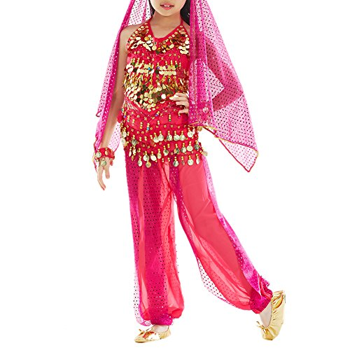 Kostüm Harem Girl Rote - TopTie Kid 's Bauch Dance Mädchen Neckholder Top, Harem Hose, Halloween Kostüme Set, Rot, DDCH-DK54040_RoseRed-L