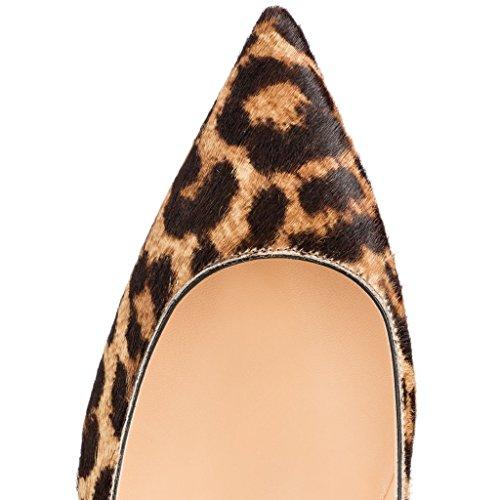EDEFS Femmes Artisan Fashion Escarpins Classiques Pointus Chaussures à talon haut de 85mm Noir Léopard