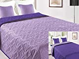 Euromat Zweiseitige Tagesdecke Bettüberwurf 3 TLG. 180x220 +2 Kissenbezüge Vigo 35 Violett Lila