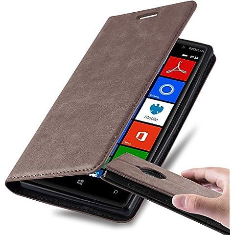 Cadorabo - Custodia Book Style per Nokia Lumia 830 Design Portafoglio con Chiusura Magnetica Invisible, Supporto Funzione e Vani di Carte - Etui Case Cover Involucro Bumper in BRUNO-CAFFÈ