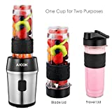 Aicok Blender, Smoothie Maker, 4 in 1 Personal Blender with Chopper Bowl (1.2L), Sports Tritan Bottle (750ML) BPA Free, 700W, Black