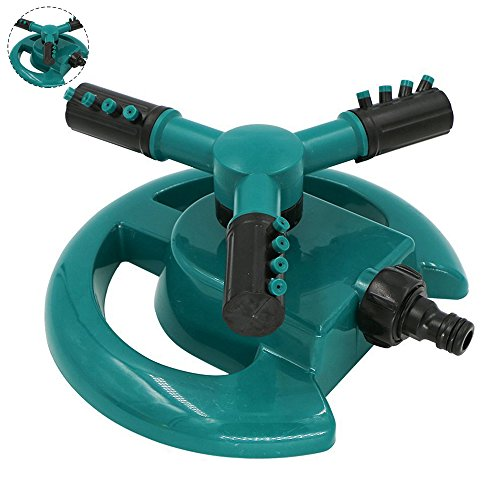 centtechi Gardening Sprinklers Three Arms Water Couverture automatique de systeme d'irrigation Plastic 360 Degree Fully Automatic Rotar,Vert