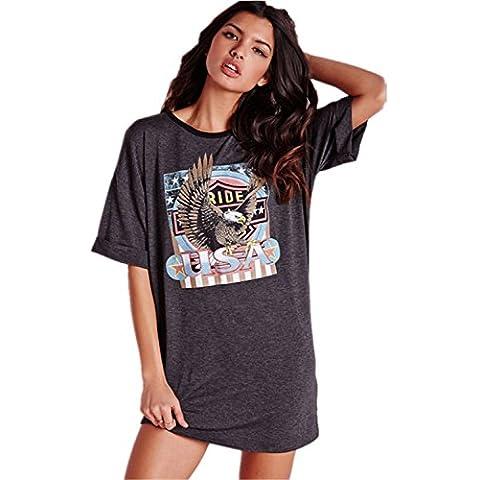 Boyfriend Stile USA American Eagle Rimboccarsi le maniche T-Shirt Camicia Chemisier Mini Corti Corto Vestito Abito Grigio