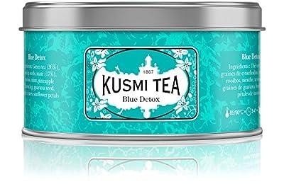 Kusmi Tea - Thé Bien-Être Blue Detox - Mélange de Thé Vert, Maté et de Plantes, Aromatisé Ananas - Mélange Conditionné en France - Idéal en Glacé - Boîte Métal 125G - Environ 50 tasses