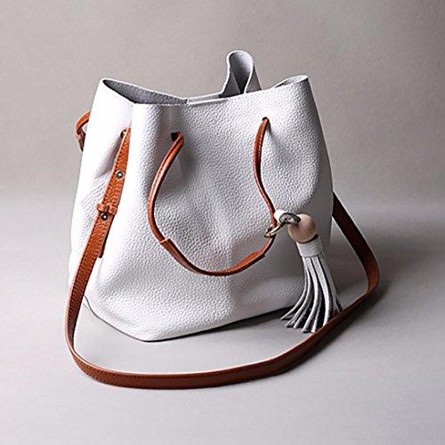 Frauen-Troddel-Leder-Schultaschen-Handtasche, Schulter-Tote-Kurier-Crossbody-Beutel Weiß