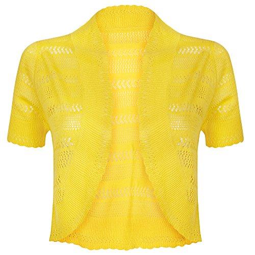 Damen Strick-Bolero, gehäkelt, Cardigan Gr. XL, gelb
