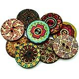 50 botones mandala de madera para scrapbooking, chaquetas, camisas, costura, decoración. mochilas, diademas..de OPEN BUY