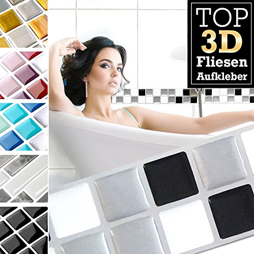 7 piezas 25,3 x 3,7 cm negro blanco plateado etiqueta adhesiva para baldosas Design 16 I pegatina para baño de cocina en papel de aluminio mosaico 3D Grandora W5423