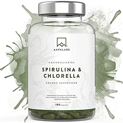 Spirulina Chlorella Capsules [ 1800 mg ] 180 Units by Aava Labs - A High Quality Phytonutrient Dense Blue Algae Blend - Perfect for Smoothies and Juices - 100% Vegan and Gluten Free - 3rd Party Tested - Made in Europe.