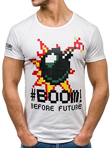 BOLF Herren T-Shirt Tee Kurzarm Rundhals Classic Aufdruck Print Motiv MIX Weiß_S018