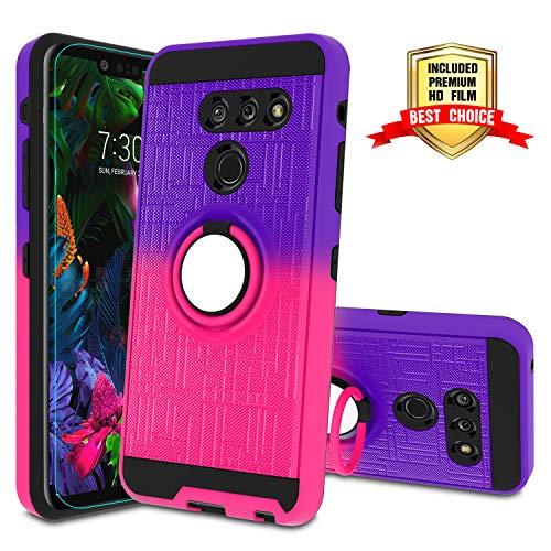 LG G8 Handyhülle, LG G8 ThinQ Hülle mit HD Bildschirmschutzfolie, Atump 360 Grad drehbarer Ringhalter, Ständer, Handyhülle für LG G8, Violett/Rot