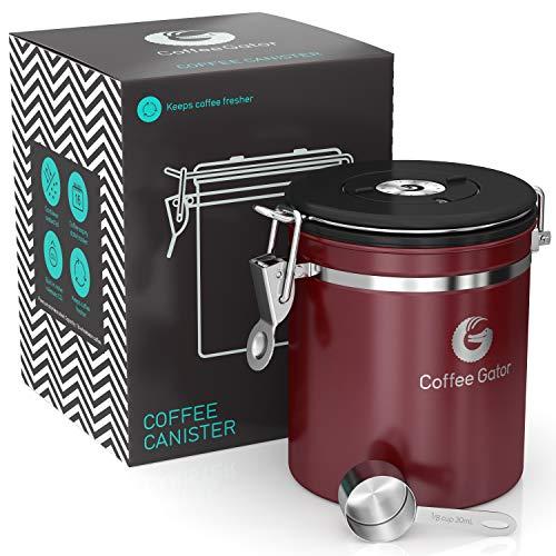 Coffee Gator-Edelstahl-Kaffeedose - Hält gemahlener Kaffee und Bohnen länger frisch - Behälter mit Datumsverfolgung, CO2-Freigabeventil und Messlöffel - Mittel - Rot