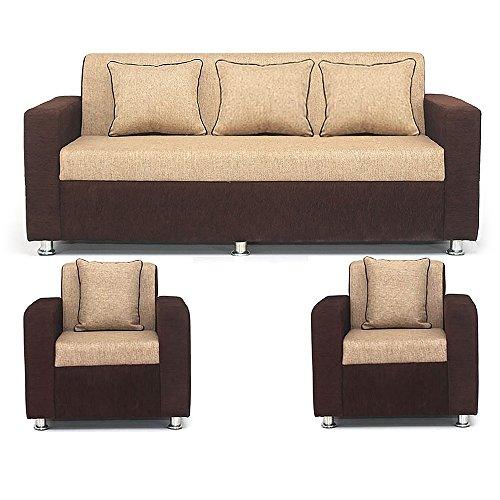 Bharat Lifestyle Tulip Five Seater Sofa Set 3-1-1 (Brown)