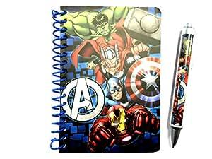 Maxi&Mini - SUPER HEROS AVENGERS SET BLOC NOTES CARNET A SPIRALES A6 + STYLO A BILLE SUPER HEROES