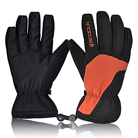Ski Gloves, HiCool Waterproof Thermal Winter Ski Gloves Snowboard Snowmobile Motorcycle Cycling Outdoor Sports Gloves--Man's (Orange,