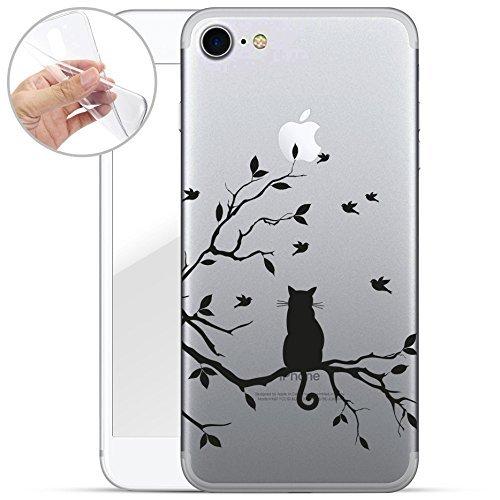 finoo | iPhone 7 Weiche Flexible Silikon-Handy-Hülle | Transparente TPU Cover Schale mit Motiv | Tasche Case Etui mit Ultra Slim Rundum-Schutz | Katze auf AST