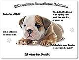 Merchandise for Fans Blechschild/Warnschild / Türschild - Aluminium - 30x40cm - - Willkommen in Meinem Zuhause - Motiv: Englische Bulldogge - 04
