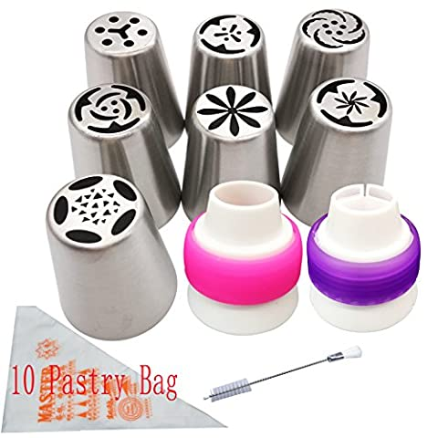 Frosting Flower piping nozzles decorations tools set and bag for cupcake 7 Pcs/set, Aixin Stainless Steel Large Size Russian Piping tips + 1x Brush + 10x Pastry Disposible Bag + 2x Coupler Syringe Set Nozzle