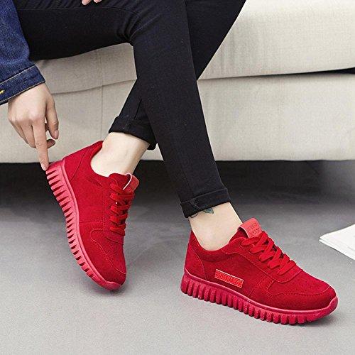 Scarpe da ginnastica scarpe da ginnastica scamosciata suole spesse pizzo primavera / estate / autunno Red