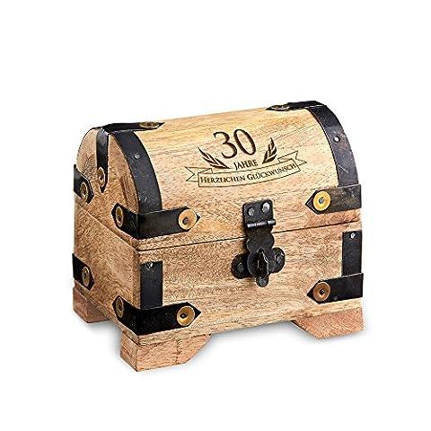 Geld-Schatztruhe zum 30. Geburtstag mit Gravur - Klein - Hell - Bauernkasse - Schmuckkästchen - Spardose - Aufbewahrungsbox aus Holz - lustige und originelle Geburtstagsgeschenk-Idee - 10 cm x 7 cm x 9 cm