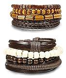 BESTEEL Schmuck 8 Stücke Leder Armbänder für Herren und Damen Armband Holz Perlen Geflochten Charme Elastisch